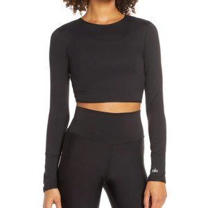 Alo Yoga Mesh Cropped Long Sleeve in Black